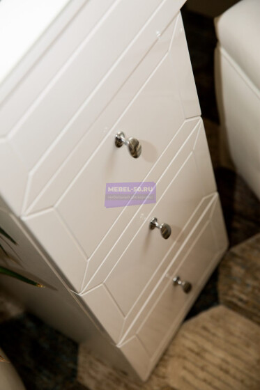 Серия 2 (консольная) Стол 80*80 Цвет Белый. МДФ в пленке. Фасад накладной. Узор «Люксембург». Столешница МДФ с вырезом. Безрамное 80*80 фото 10