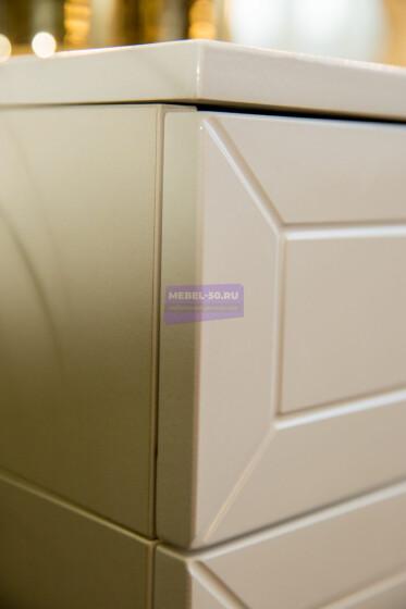 Серия 2 (консольная) Стол 100*80 Цвет Белый. МДФ в пленке. Фасад накладной. Узор «Люксембург». Безрамное 100*80
