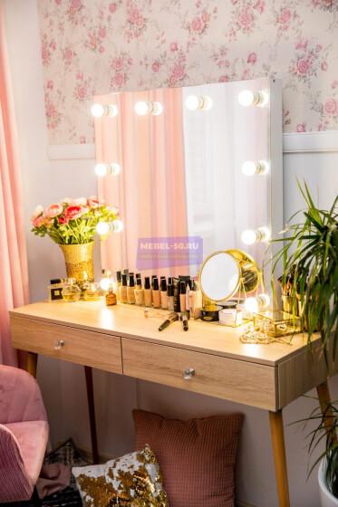 Стол гримерный с зеркалом и подсветкой. Цвет Дуб Сонома. Фасад накладной. Безрамное 80*80 фото 7